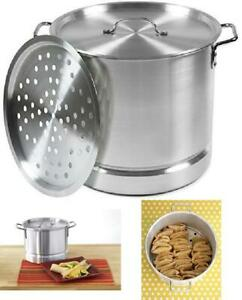 Steamer Pot Aluminum 32 Qt. Cooking Lid Removable Steam Tray for Tamales Lobster