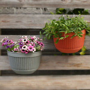 Imitation Rattan Wicker Wall Hanging Flower Pot Basket Balcony Planter Useful $10.73