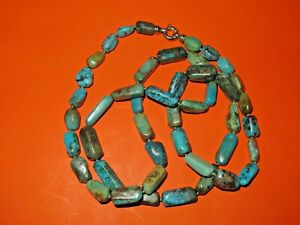 WHITNEY KELLY DESIGNER FOR QVC TURQUOISE RECTANGULAR BEAD NECKLACE 40quot; STERLING