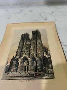 Vintage Lithograph Rheims Cathedral $8.50