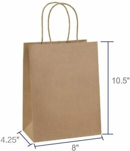 25 PC 8x4.25x10.5#x27; Brown Kraft Paper Bag Party Shopping Gift Bags with Handles