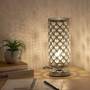 Desk Table Lamp Cylinder Bedside Nightstand Reading Lamp Crystal Decor $21.29
