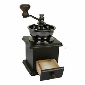 Manual Wood Vintage Coffee Bean Mill Hand Burr Crank Manual Grinder With Drawer