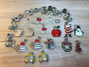 40 piece Charm Bracelet Beads Charms 28 beads 16 Charms School Christmas