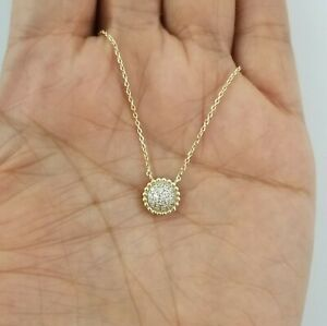 Women 14k Yellow Gold Round Diamond Pendant Necklace