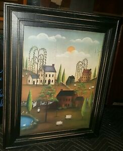 VILLAGE WITH SHEEP by Kim Lewis Saltbox Houses FRAMED ART PICTURE