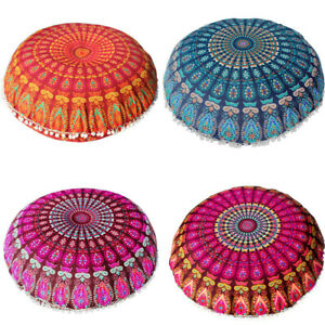 Large Mandala Floor Pillows Round Bohemian Meditation Fashion Cushion Cover US