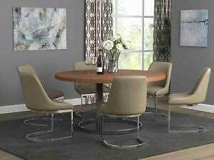 NEW Light Brown Dining Room Furniture Round Metal Base Table amp; Chairs Set IC77 $1570.97
