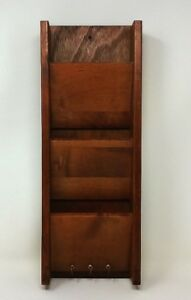 1960s Cornwall Maine Wood three Slot Wall Letter Holder with 3 Key Ring Hooks