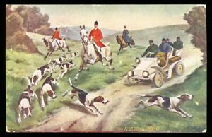 ARTIST POSTCARD: 1907 A STRONG SCENT HUNTING DOGS ON THE RUN