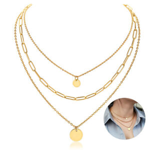 Yellow Gold Plated Stainless Steel Multi Layered Choker Necklace Women Chain