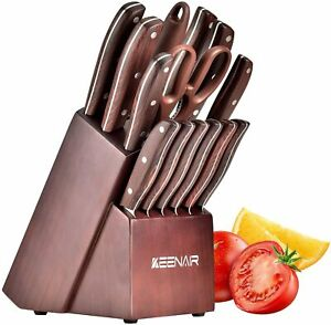 15 Piece Kitchen Knife Set with Block Wooden Knife Set with Sharpener.
