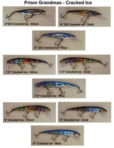Grandma 6quot; 7.5quot; and 9quot; Musky amp; Pike Cracked Ice Lures each in in 3 colors
