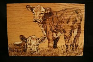 Hereford Calves hand made wood burnt picture on oak