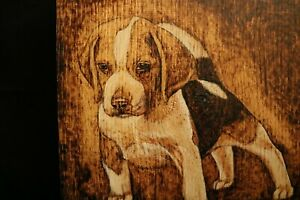 Beagle Puppy hand made wood burnt picture on oak