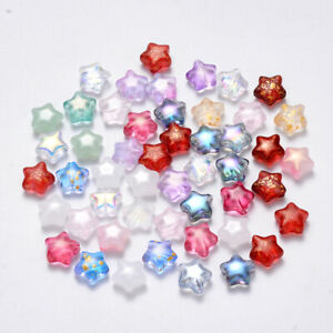 10 Glass Star Beads Mixed Lot Assorted Set Celestial Jewelry Supplies 8mm $3.95