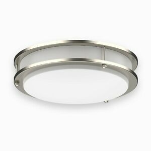 Dimmable LED Flush Mount Ceiling Light Fixture Silver Ring Modern 10quot; 12quot; 14quot; 16 $27.49
