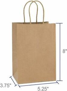 25 PC 5.25x3.75x8 Brown Kraft Paper Bag Party Shopping Gift Bags with Handles