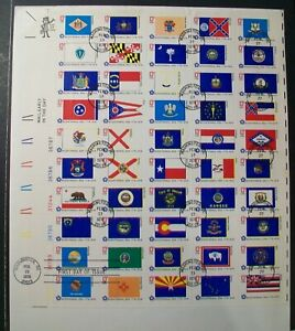 Scott #1682a Used 13c State Flags Complete Sheet of 50 On First Day Cover.