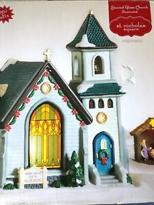 St. Nicholas Square for Kohls Stained Glass Light up Church $26.00