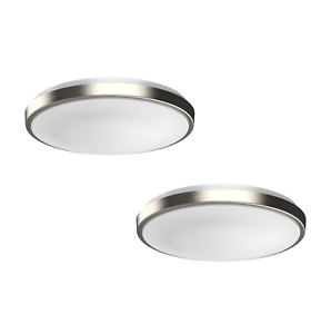 DYMOND Dimmable LED Ceiling Light Flush Mount Fixture Modern Silver Ring 2 PACK
