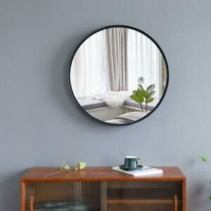 24 x 24quot; Round Wall Mirror With Black Metal Frame For Entryway Washroom Bedroom