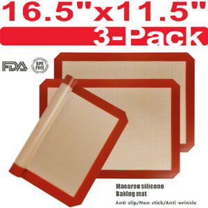 3 Pack Silicone Baking Mat Nonstick Heat Resistant Oven Mats Toaster Liner Sheet