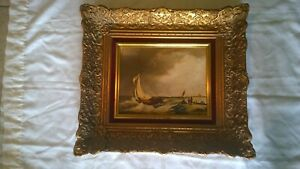 Old Dutch Seascape signed oil on board beautifully framed. CIRCA early 1900s $235.00