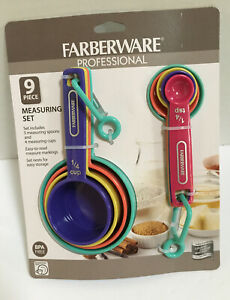 Farberware Professional Measuring Set 9 pieces Bright Colors 4 Cups amp; 5 Spoons $14.99