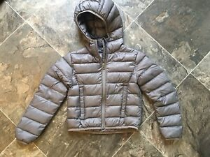 Boys Cabelas Gray Down Insulated Hooded Jacket Coat XS 4 5