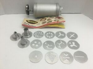 Mirro Cookie Pastry Press Decorator Set 11 cookie plates 3 Pastry Tips T 841A $12.99