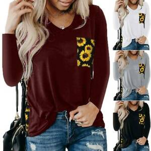 Womens Sunflower Printed V Neck Long Sleeve T Shirt Tee Tunic Tops Blouse Casual $18.42