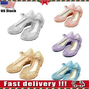 USA Kids Girls Sandals Jelly Shoes Princess Elsa Cosplay Fancy Dress Up Party