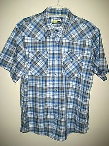 MAGELLAN OUTDOORS ADVENTURE GEAR Mag Wick LOOSE FIT S S Blue Plaid Shirt Large