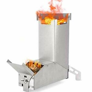 Camping Stove Collapsible Wood Burning Stainless Steel Rocket Stove Backpacking