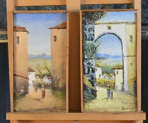 Set of 2 Vintage Paintings South America Peru? Village Scenes Signed $110.00