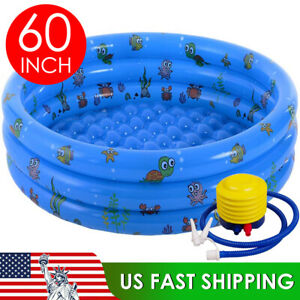 Blue Kids Outdoor Inflatable Swimming Pool Summer Garden Paddling Pool 60quot; X 16quot;
