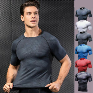 Mens Gym Fitness Compression Base layer Slim Tight Running Cool Dry Shirts Tops $14.24