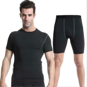 Mens Gym Fitness Compression Underwear Running Cool Dry Shirts Shorts Tops Suits $20.89