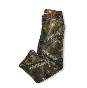 NWT Carhartt 6 Short Camo Kane Dungaree Pants Relaxed Fit Hunting Women#x27;s Duck