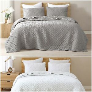 Spiral 3 Piece Swirl Embroidered Soft Washed Microfiber Bedspread Quilt Set