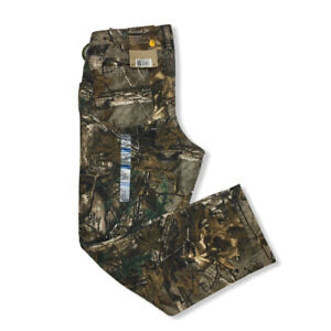 NWT Carhartt 4 Short Camo Kane Dungaree Pants Relaxed Fit Hunting Women#x27;s Duck