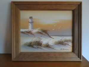Vintage Oil Painting of Lighthouse signed S. Roren. Beautiful colors 8x10in $18.00