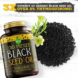 MAJU#x27;s Black Seed Oil Capsules Cold Pressed 3X% Thymoquinone 100% Turkish Bl
