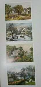 4 Currier and Ives American Homestead Season Lithographs 5 X 7quot; Unframed $9.98