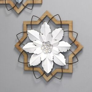Rustic Metal Wall Art White Flower Wood Frame Living Room Hanging Accent Decor $57.21
