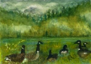 ACEO MINIATURE Original Watercolor Artist Card by Eileen Geese Lake Reeds Grass $6.00