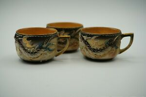 VTG 3 Moriage Dragonware Demitasse Teacups Need Replacement Cups