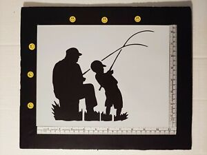 Father and Son Fishing for Fish 11quot; x 8.5quot; Custom Stencil FAST FREE SHIPPING