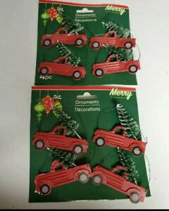 Set of 8 Red Truck w Bottlebrush Tree Christmas Ornaments 2.75quot; x 2quot; $14.99